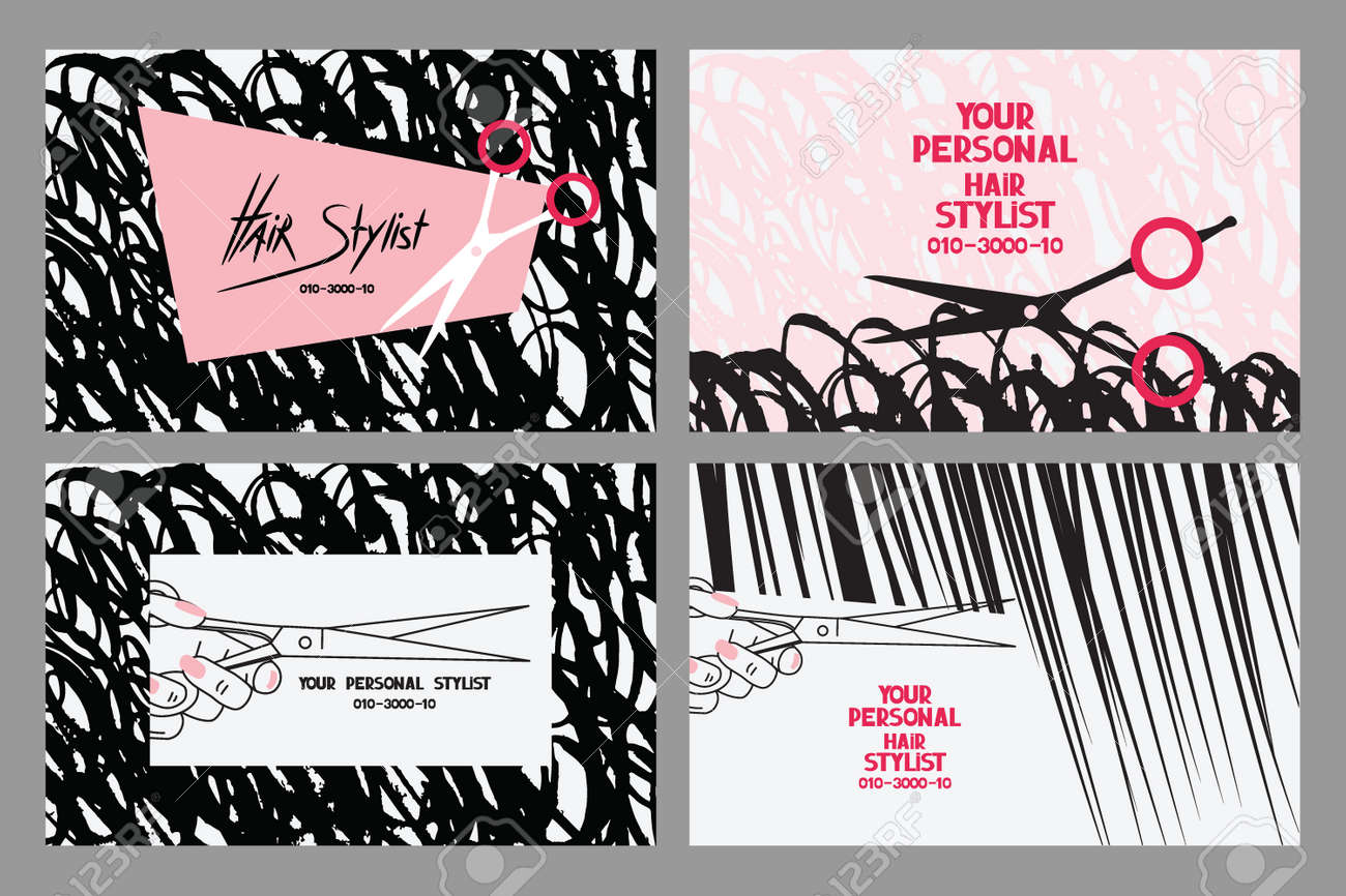 Hair Stylist Business Cards With Abstract Hair And Scissors ...
