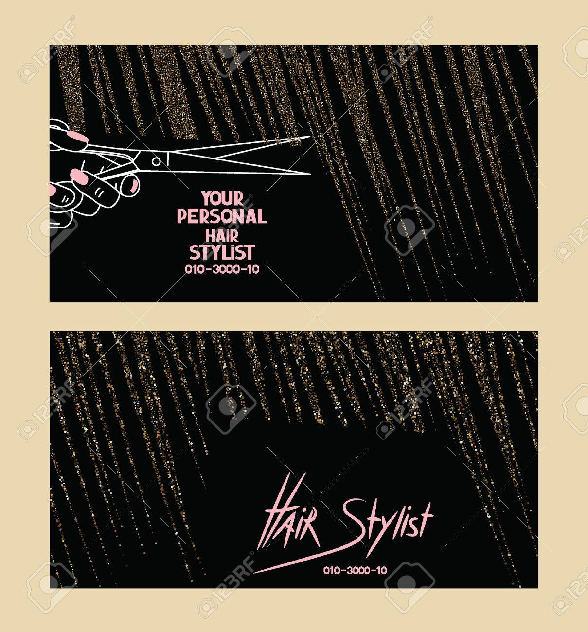 Hair Stylist Business Cards With Gold Textured Abstract Hair Royalty ...
