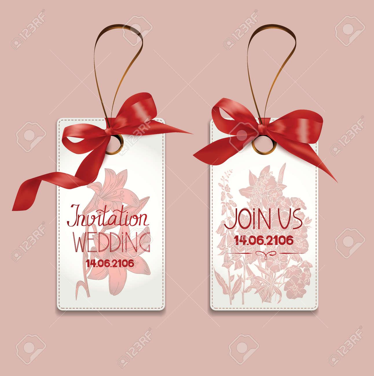Set Elegante Einladung Hochzeitskarten Mit Seidenbandern Und Blumen