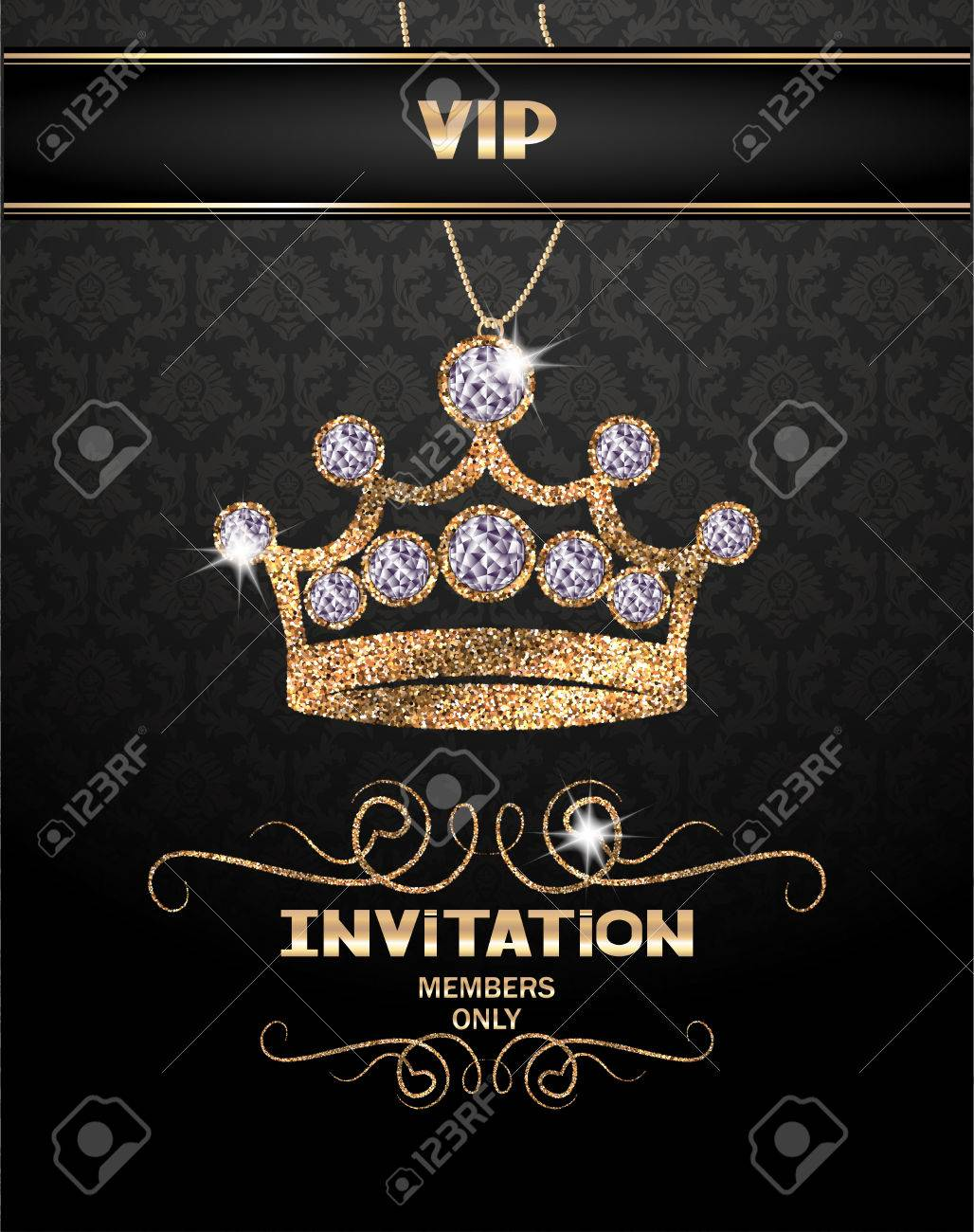 Tarjeta De Invitación Vip Con La Corona Chispeante Abstracto Con Los Diamantes