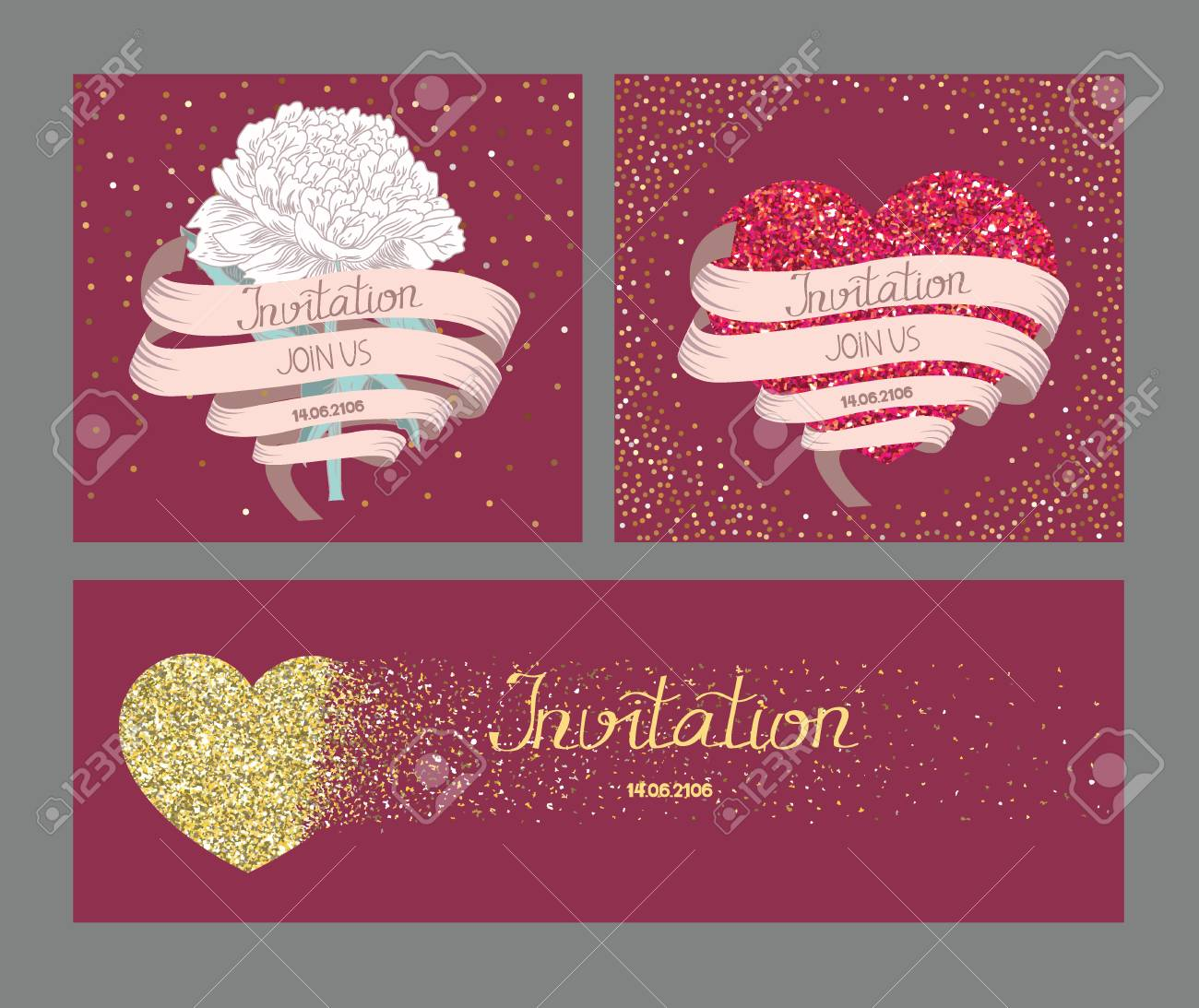 Wedding Invitation Cards With Long Ribbon And Gold Textured Hearts ...