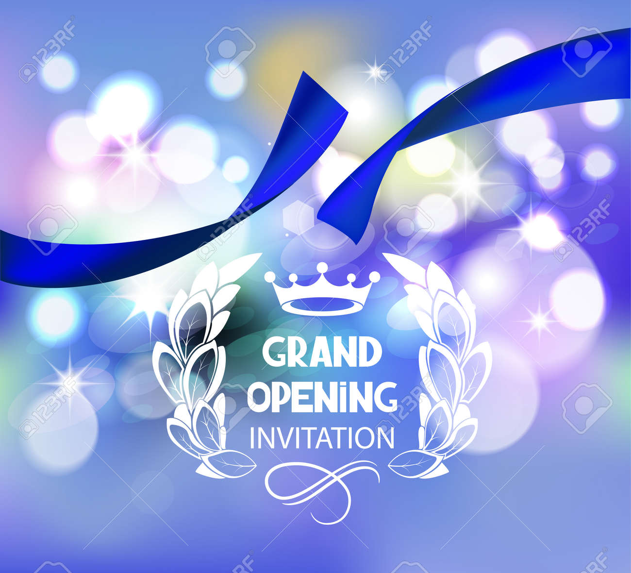Grand opening invitation card with blue ribbon and bokeh background grand opening invitation card with blue ribbon and bokeh background imagens 55939247 stopboris Gallery