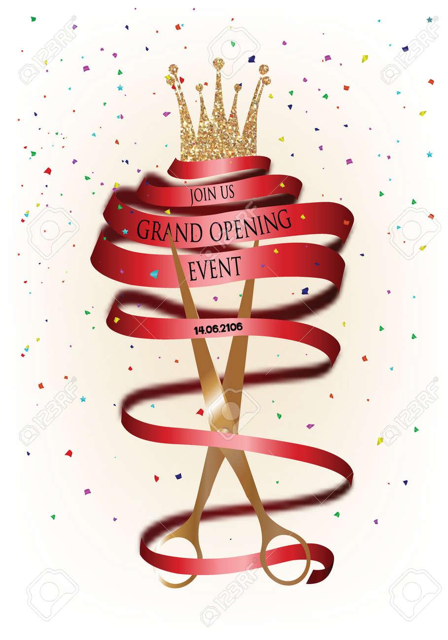 Tarjeta De Invitación De Inauguración Con La Cinta Y Tijeras Rojo Largo