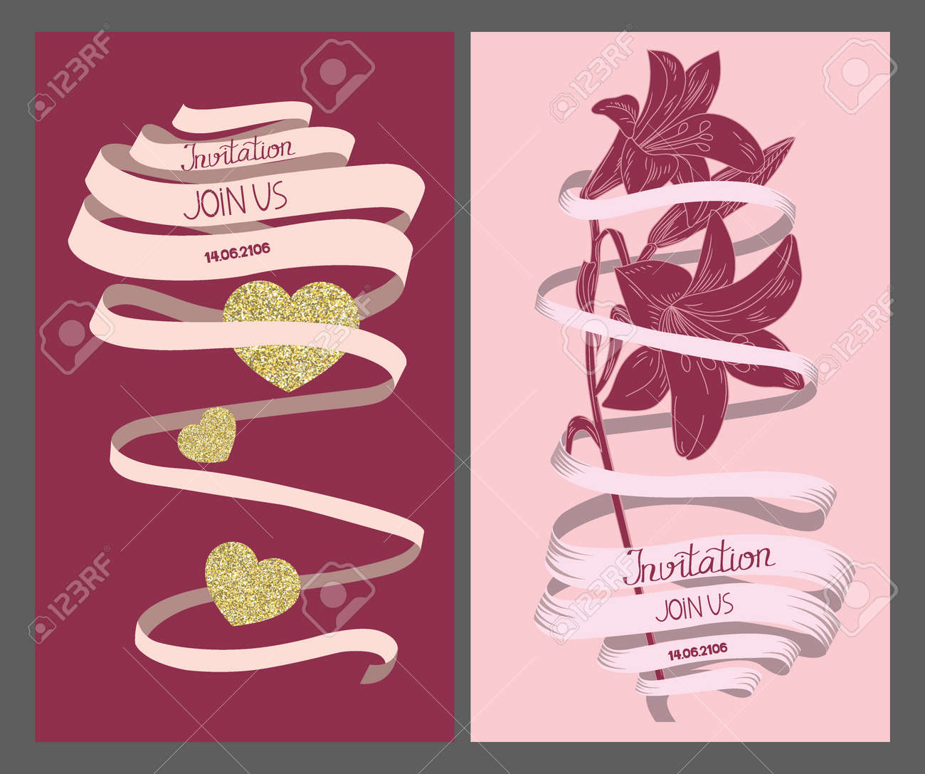 Wedding Invitation Vintage Cards With Long Ribbon, Heart And ...