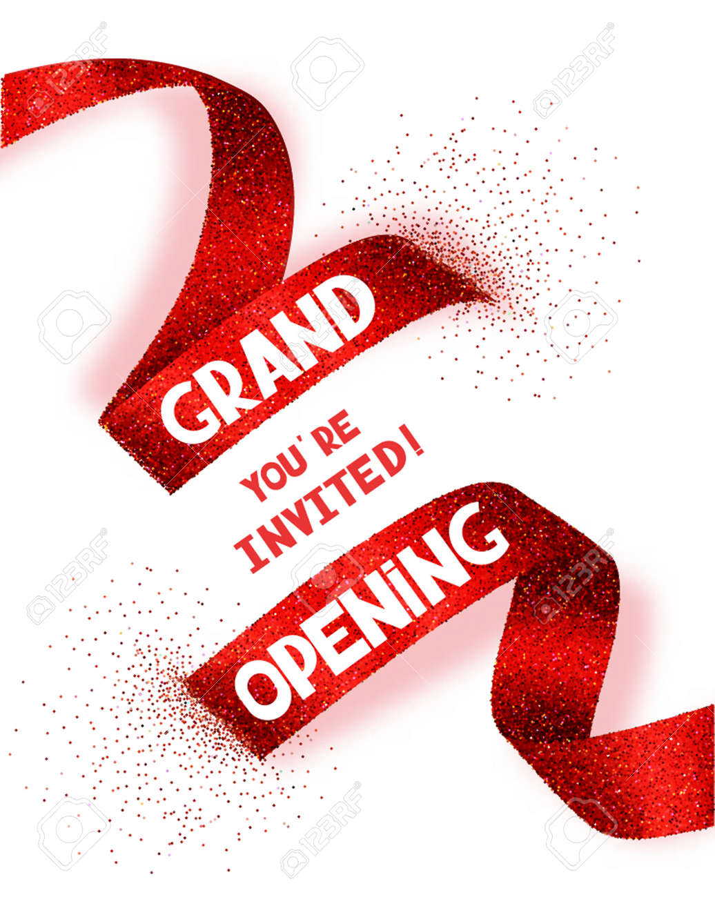 Grand Opening card with abstract red ribbon - 58724685