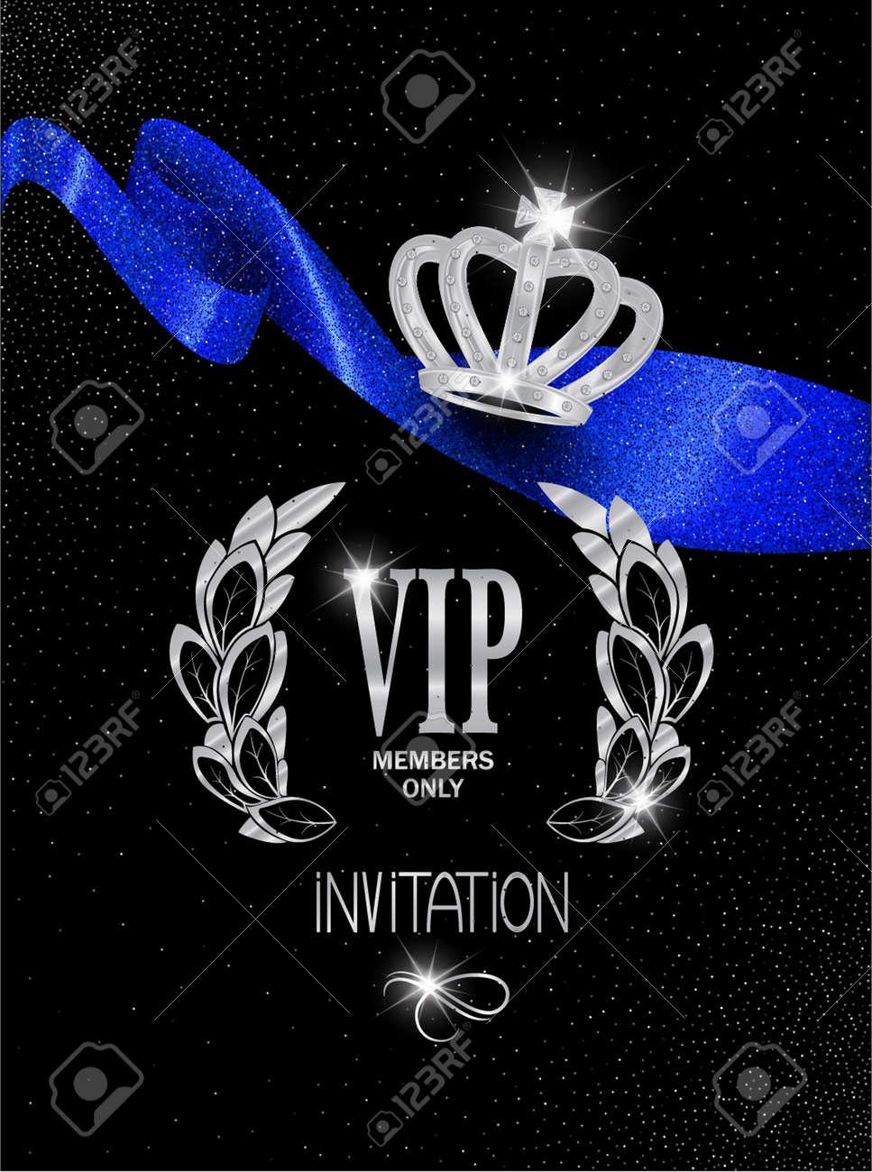 Tarjeta De Invitación Vip Con La Cinta Azul Brillante Y La Corona De Platino Ilustración Vectorial