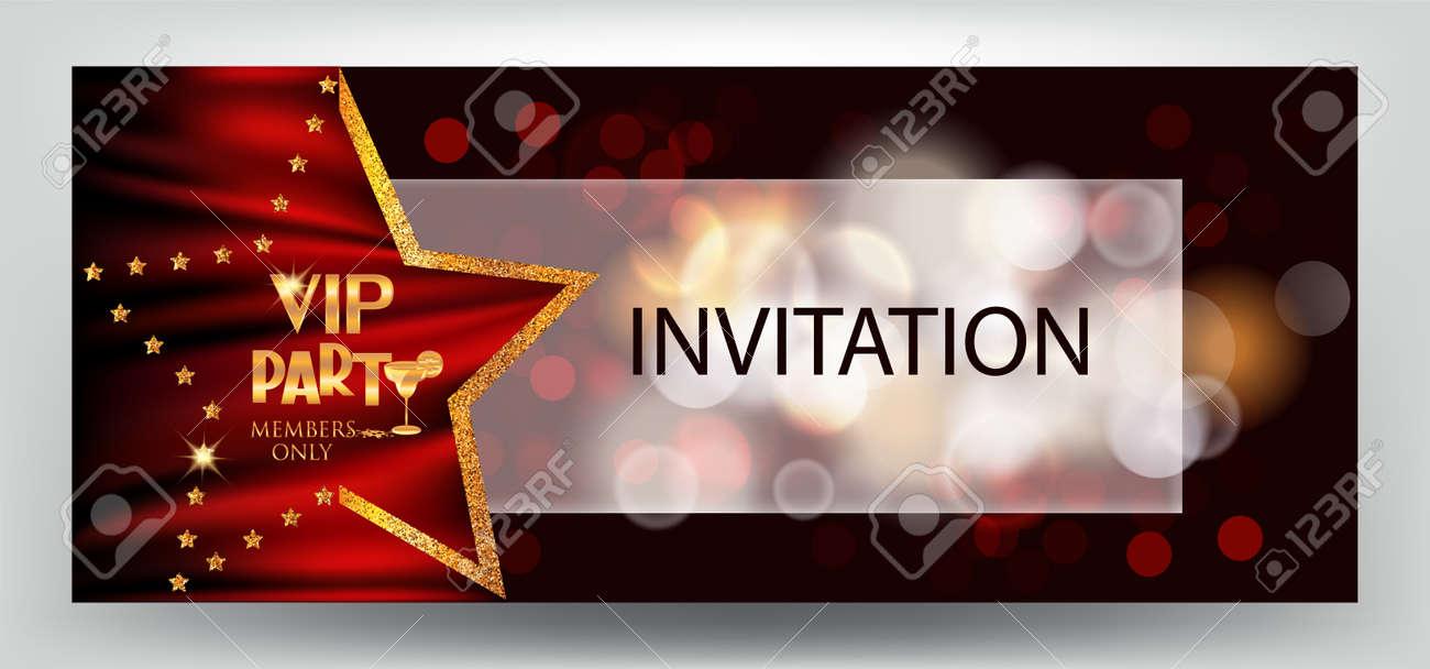 VIP Party Elegant Horizontal Invitation Card With Bokeh Background ...
