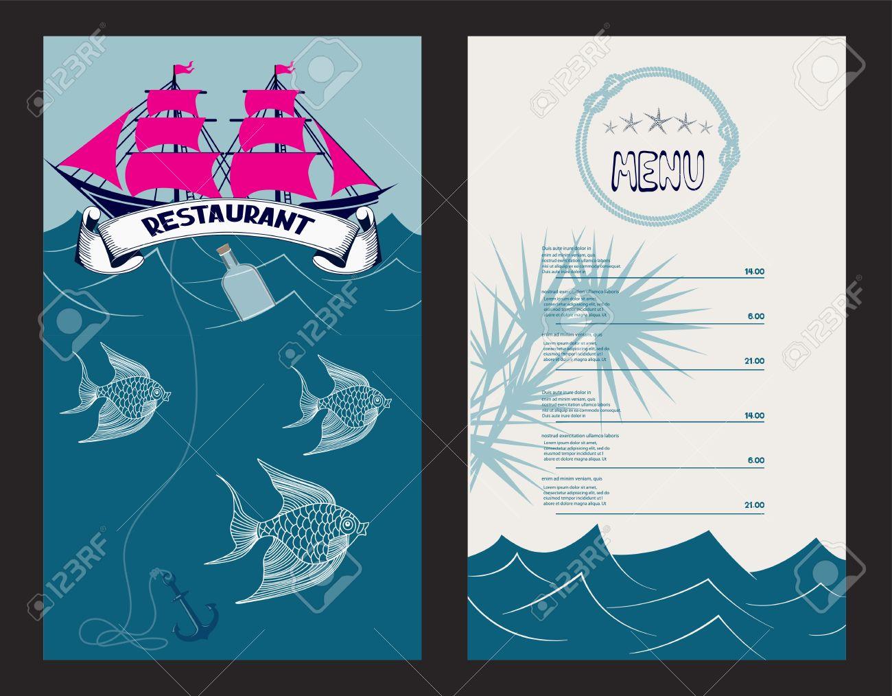 restaurant menu background with marine design elements. seafood