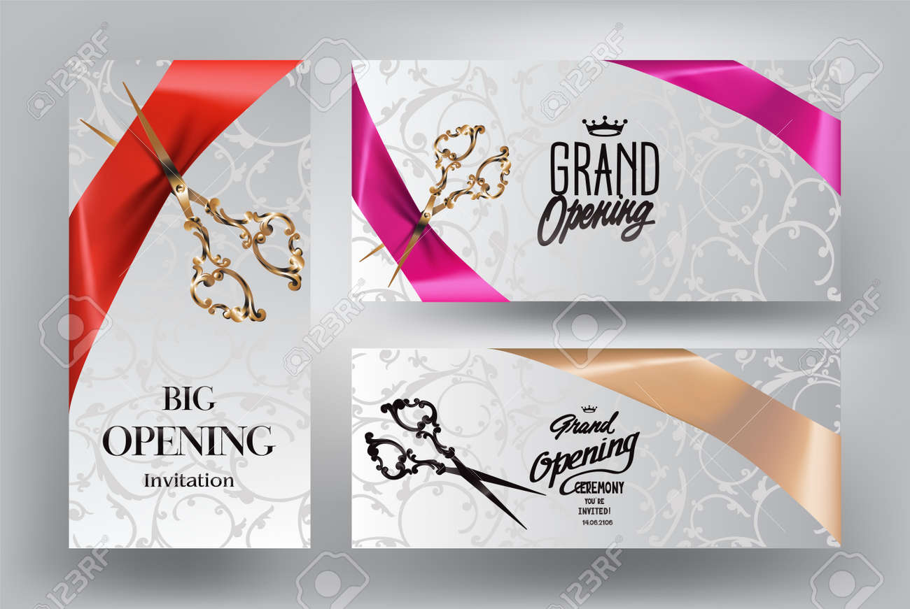 Ribbon cutting ceremony invitation cards with scissors and silk ribbon cutting ceremony invitation cards with scissors and silk ribbons stock vector 61252647 stopboris Image collections