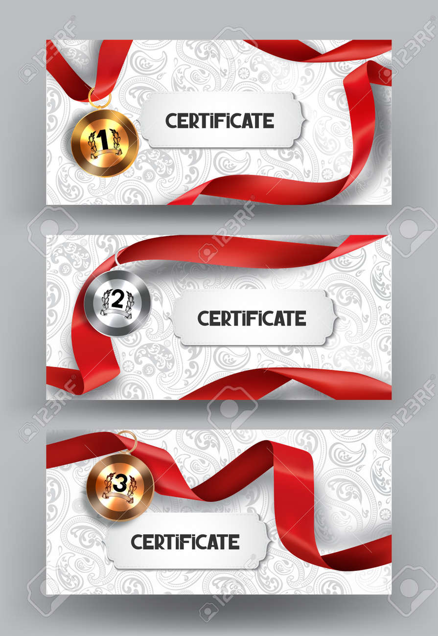set of elegant certificates and medals with red silk ribbon on