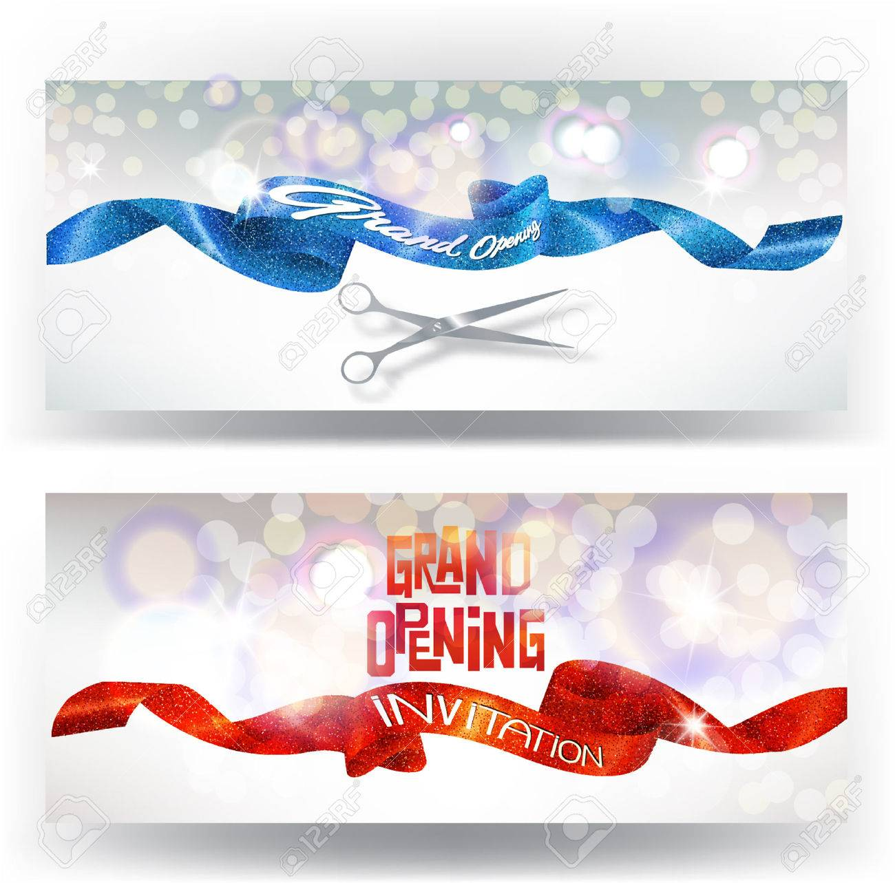Grand opening cards with red and blue sparkling ribbons and scissors. illustration - 63173853