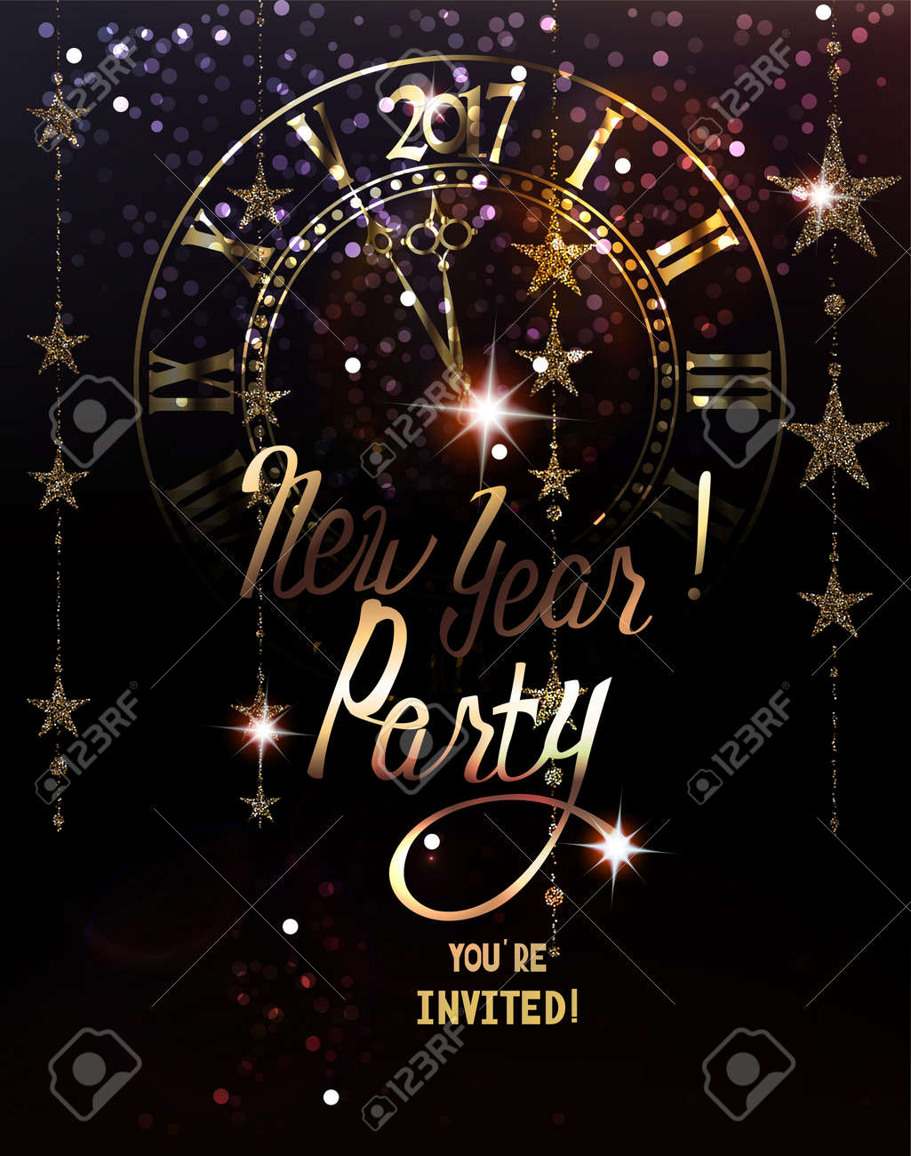 new year party invitation card with sparkling gold garlands and clock vector illustration stock vector