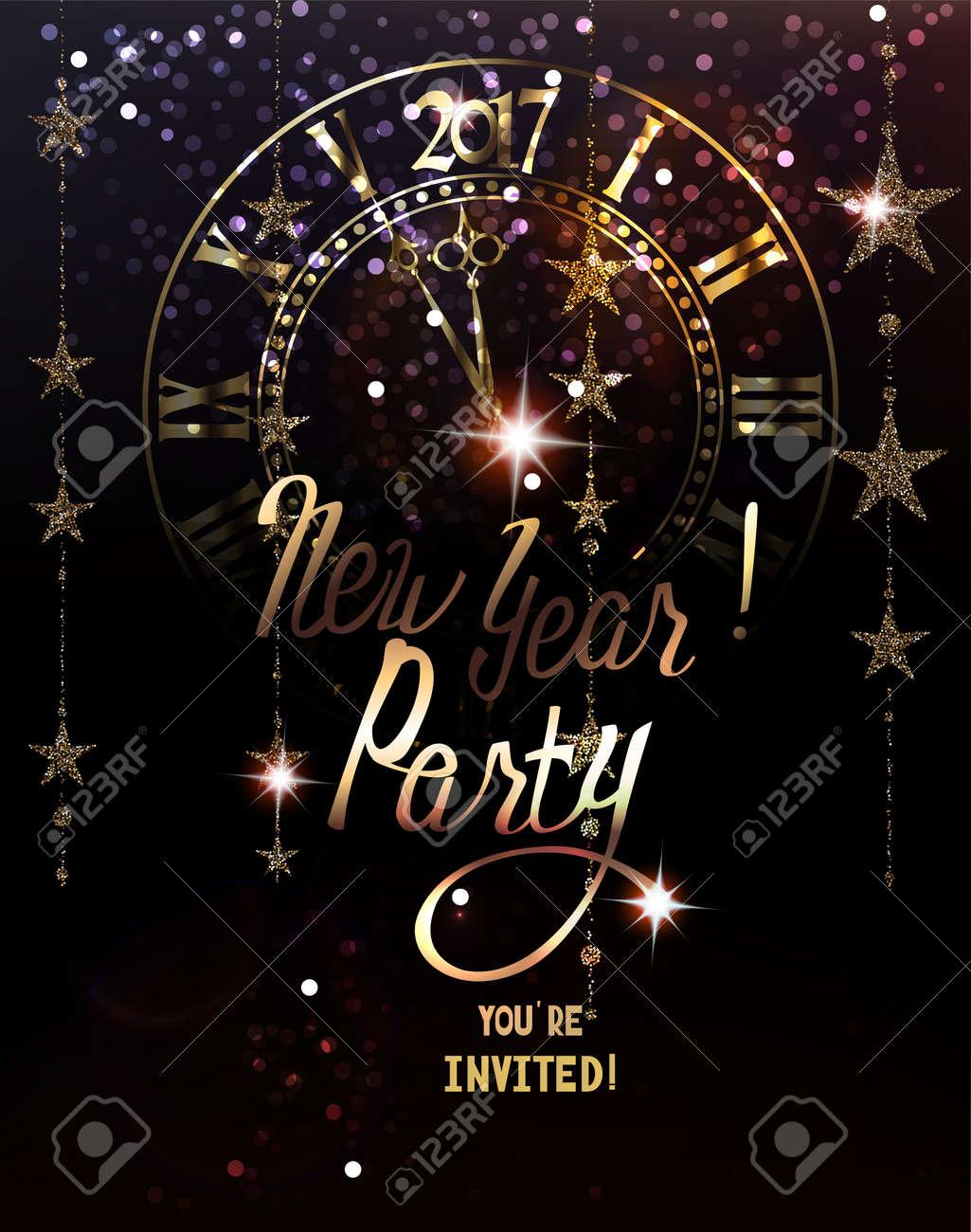 Tarjeta De Invitación De La Fiesta De Año Nuevo Con Guirnaldas De Oro Brillantes Y El Reloj Ilustración Vectorial