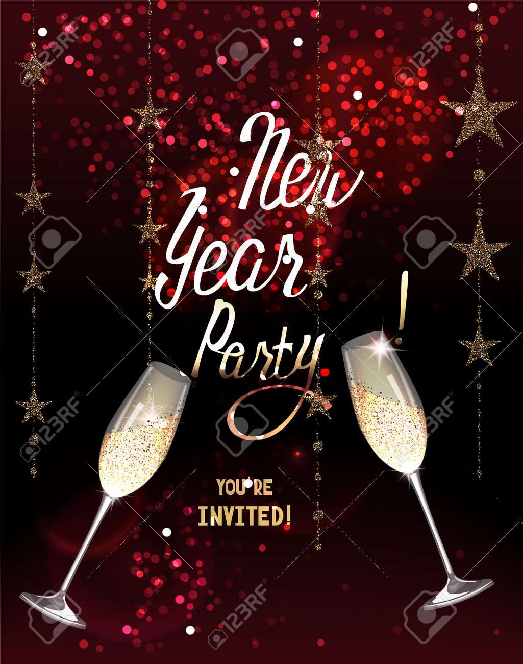 Tarjeta De Invitación De La Fiesta De Año Nuevo Con Guirnaldas De Oro Brillantes Y Copas De Champán Ilustración Vectorial