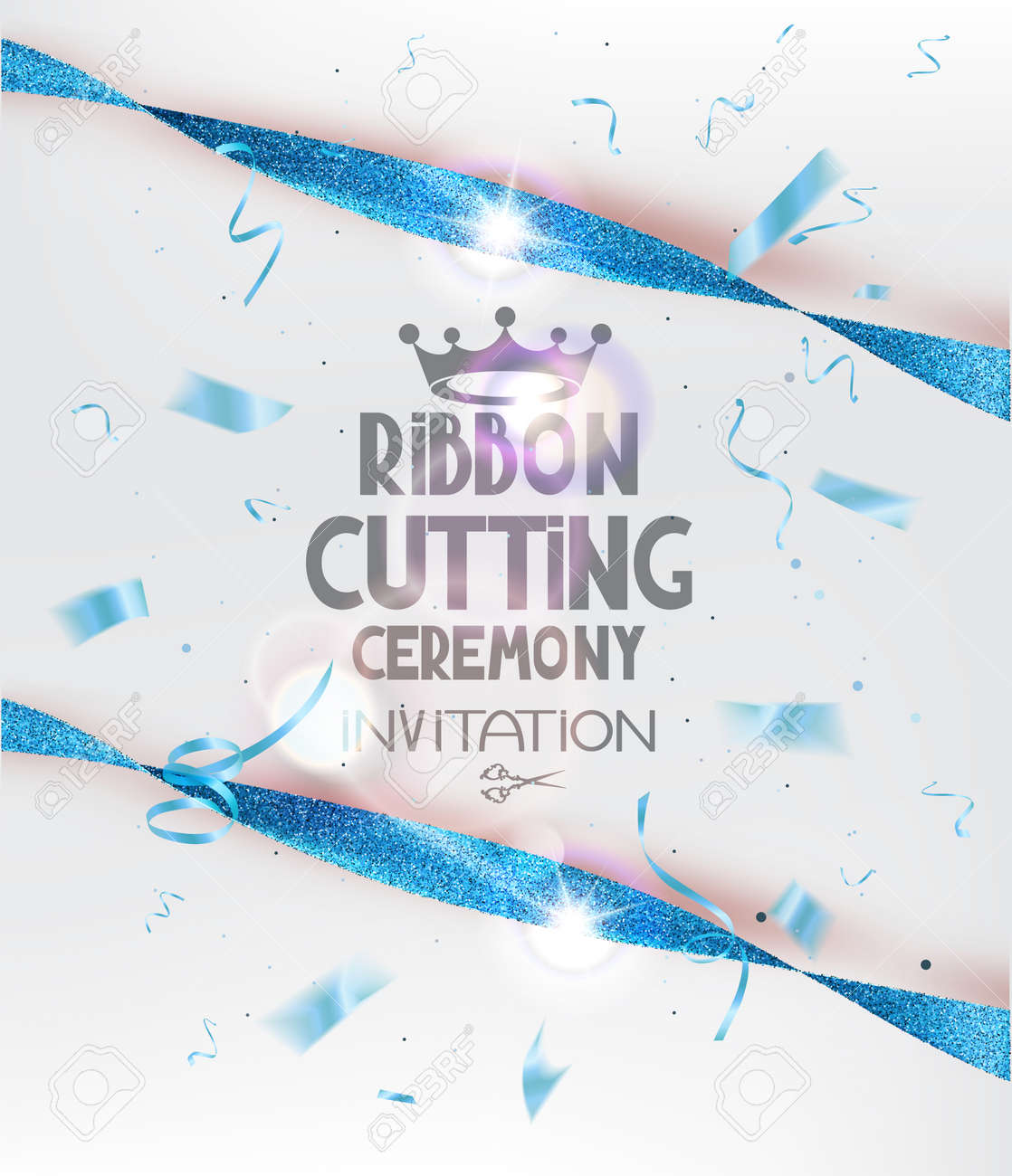 Ribbon cutting ceremony invitation card with blue sparkling ribbons ribbon cutting ceremony invitation card with blue sparkling ribbons and confetti vector illustration stock vector stopboris Image collections