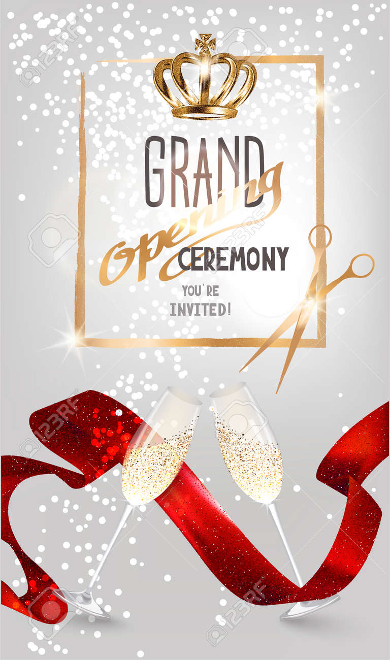 Grand opening sparkling invitation card with red satin ribbon grand opening sparkling invitation card with red satin ribbon glasses of champagne and scissors stopboris