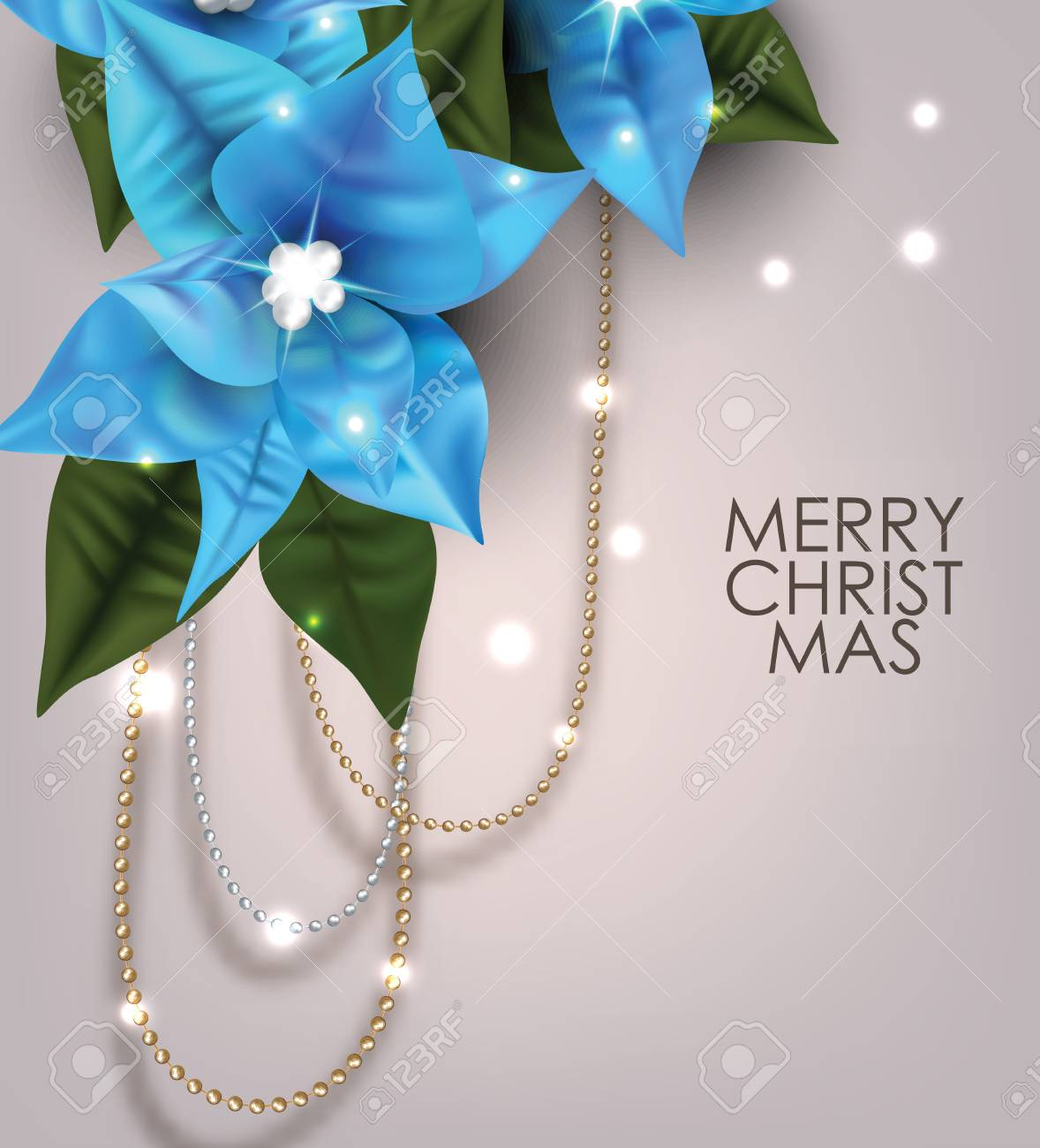 Christmas Greeting Card With Garlands And Blue Poinsettia Flowers
