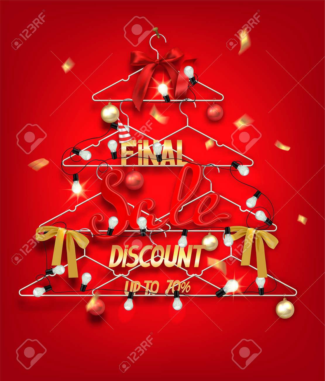 Weihnachten Verkauf Banner Mit Abstrakten Weihnachtsbaum Aus ...