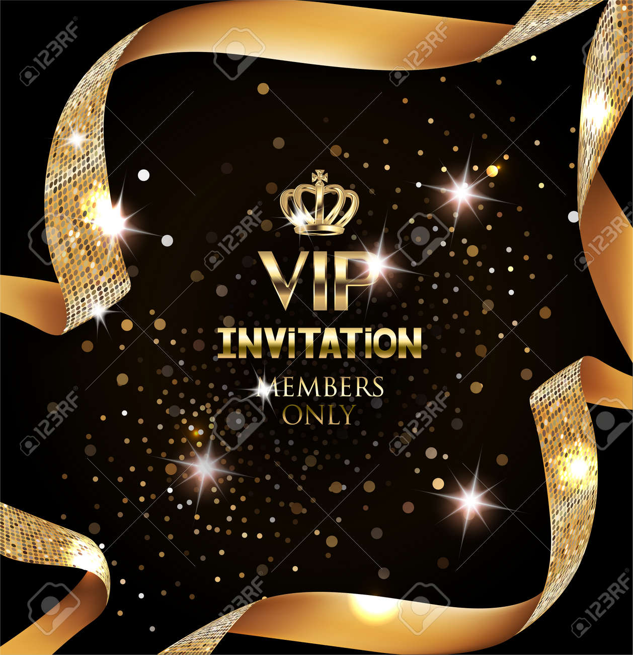 Elegant VIP invitation card with silk textured curled gold ribbon - 66680326