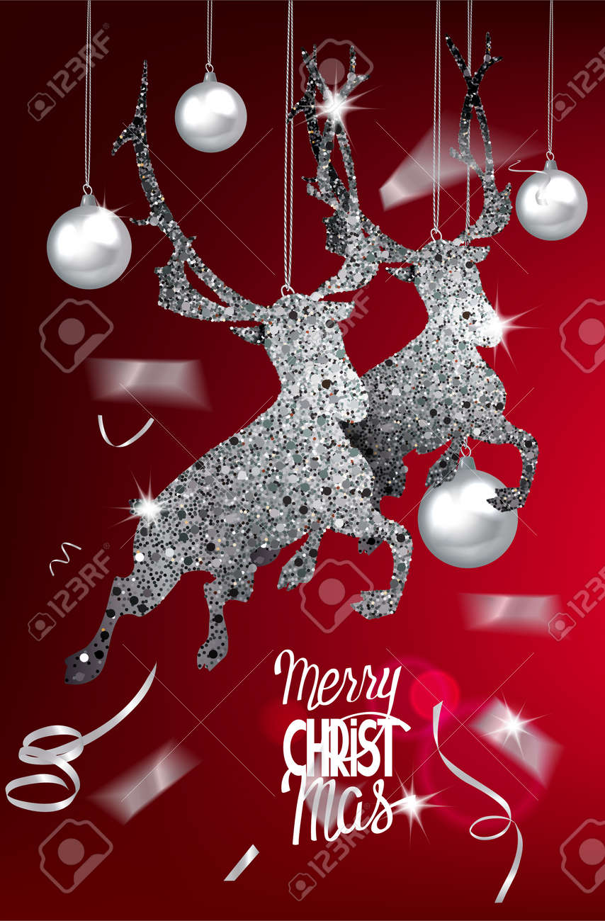 New Year Greeting Card With Silver Sparkling Deers In A Jump