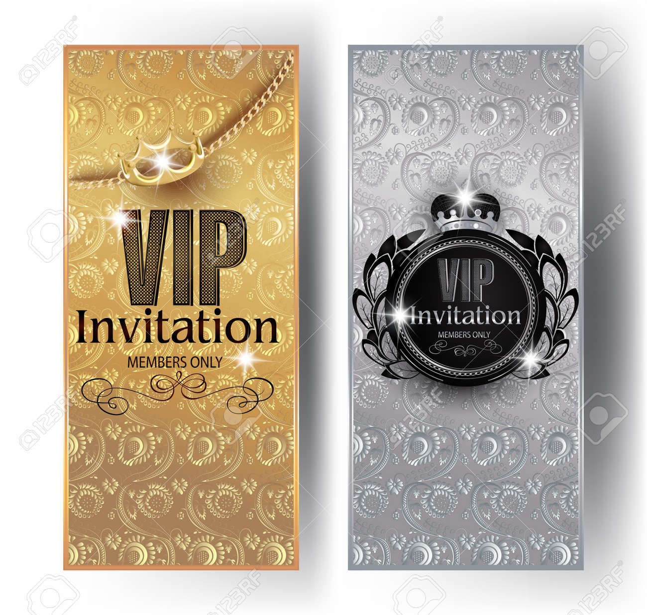 Gold and silver vip invitation cards with floral design background gold and silver vip invitation cards with floral design background crowns and vintage frames stopboris Gallery