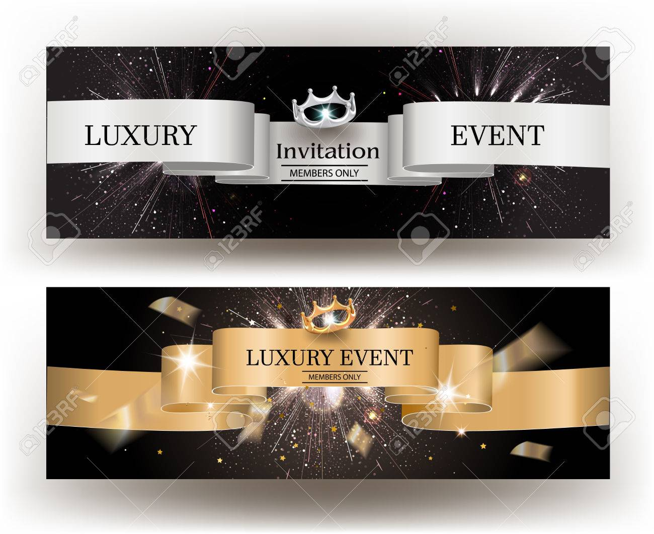 luxury event invitation card with gold and silver ribbons vector