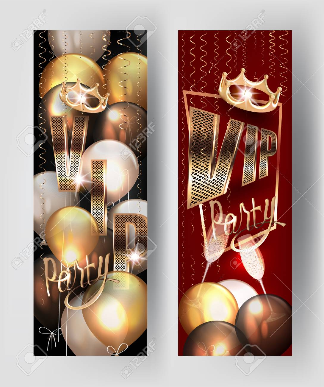 VIP Party Invitation Banners With Gold Curly Serpentine, Air ...
