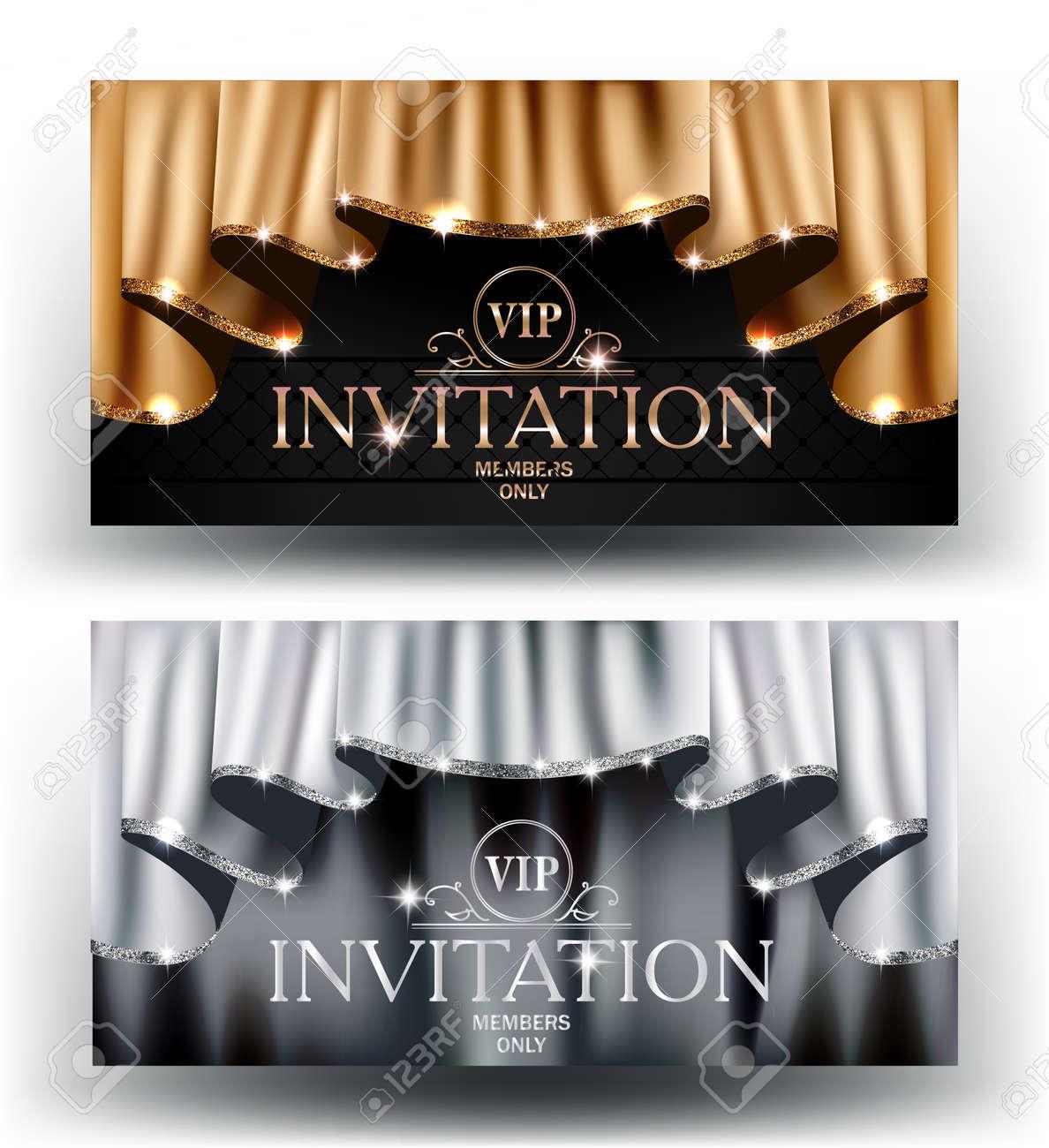 Tarjetas De Invitación Vip De Oro Y Plata Con Cortinas Con Borde Resplandeciente Ilustración Vectorial