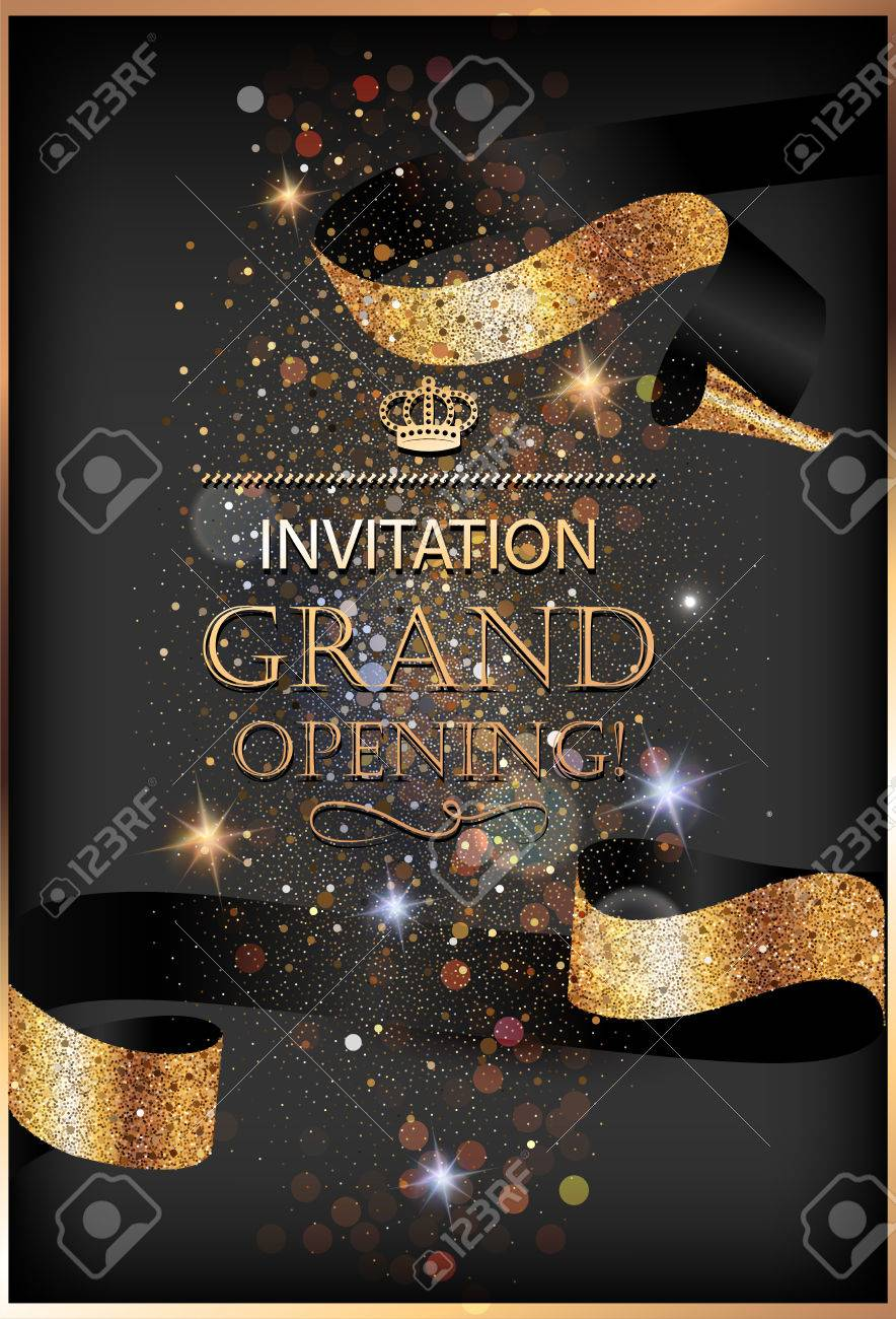 Grand opening invitation gold card with sparkling background grand opening invitation gold card with sparkling background and curly elegant ribbon vector illustration stock stopboris Image collections
