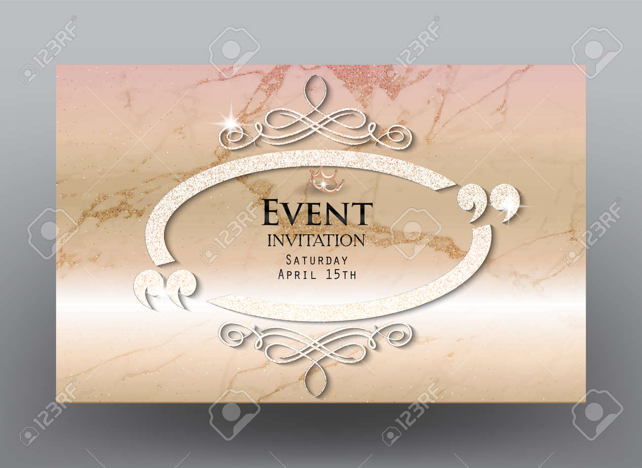 Invitation card with marble background sparkling vintage ellipse invitation card with marble background sparkling vintage ellipse frame with flourishes and quotes vector stopboris Image collections