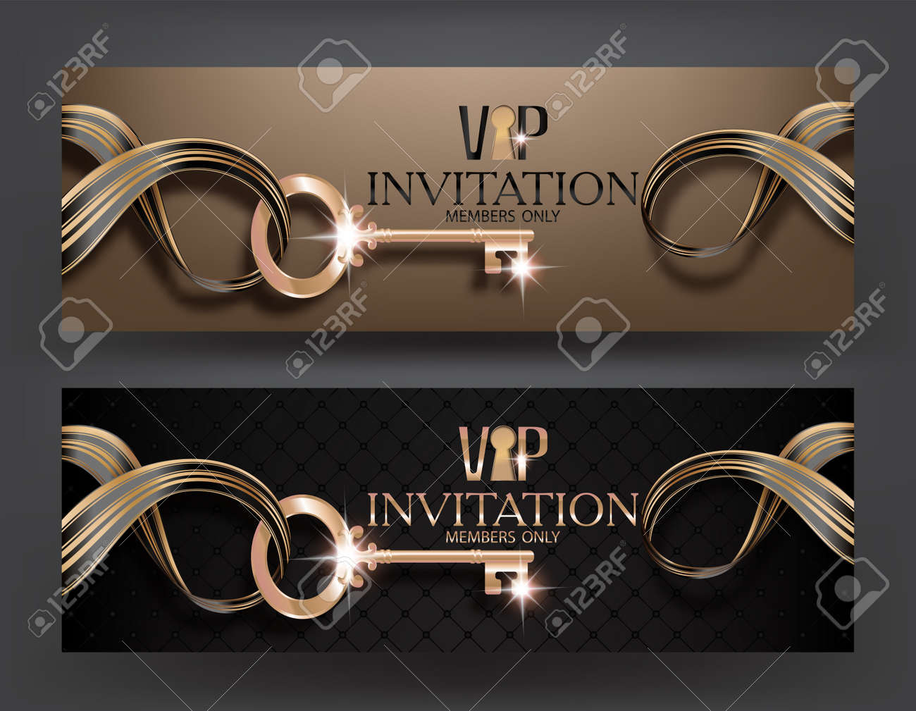 Vip invitation banners with key on striped ribbon and gold lettering vector vip invitation banners with key on striped ribbon and gold lettering vector illustration stopboris Choice Image
