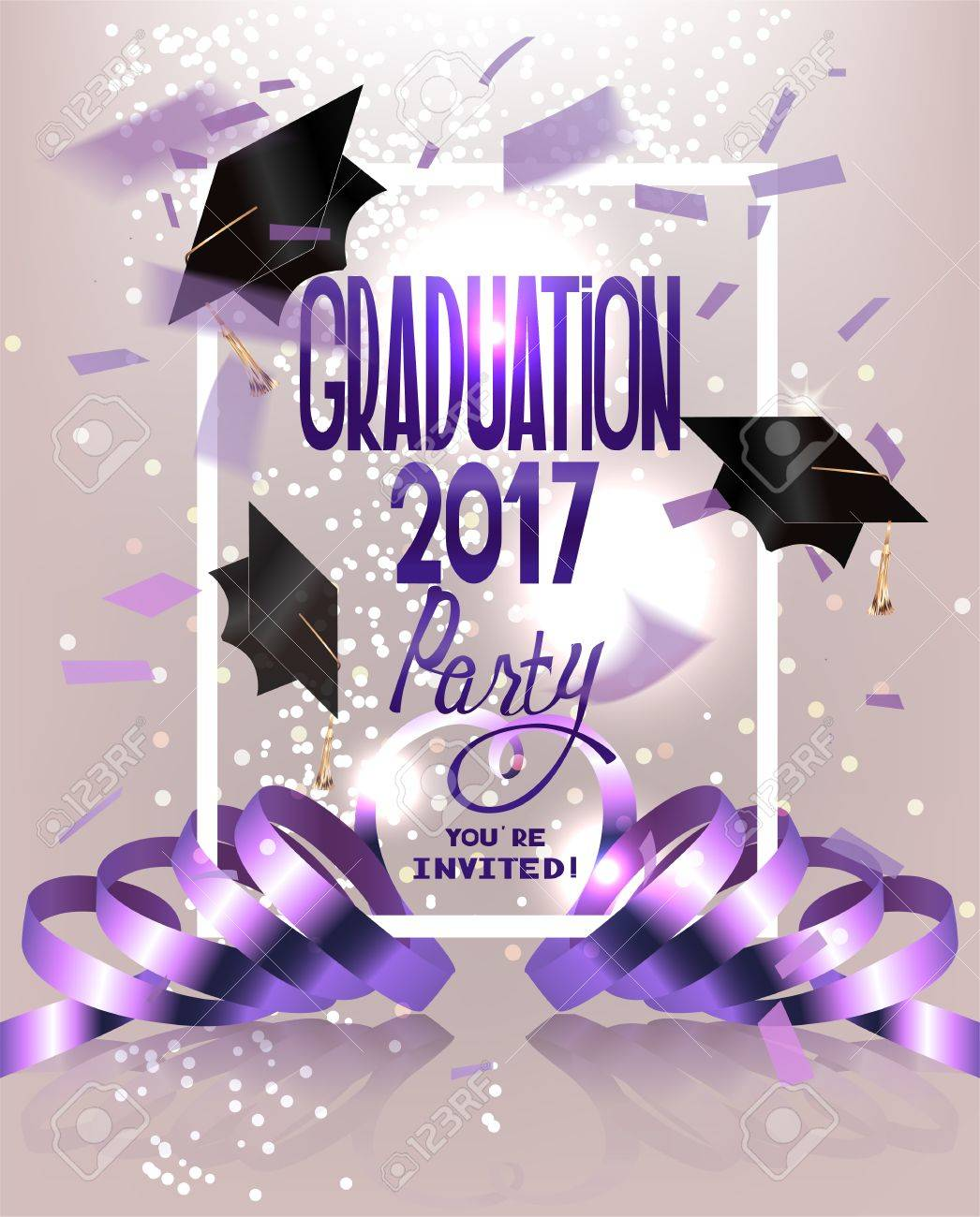 Graduation party invitation card with flying hats curly ribbons graduation party invitation card with flying hats curly ribbons and confetti vector illustration stock stopboris Images