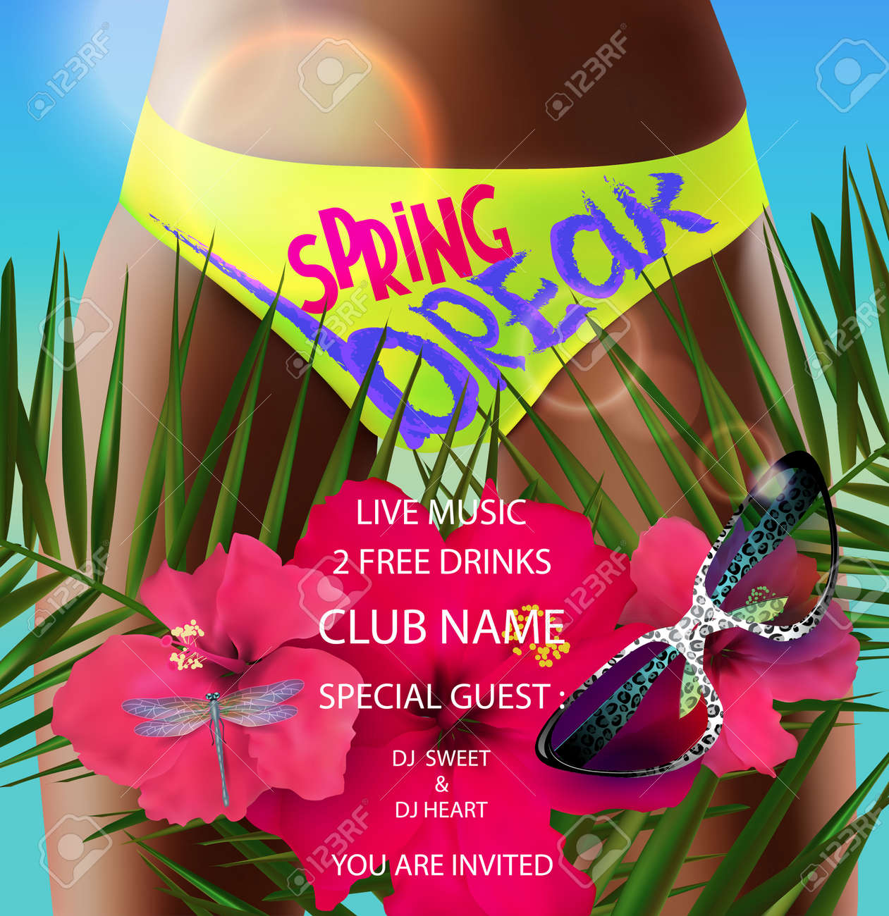 Spring Break Poster With Palm Tree Branches Flowers And Girl