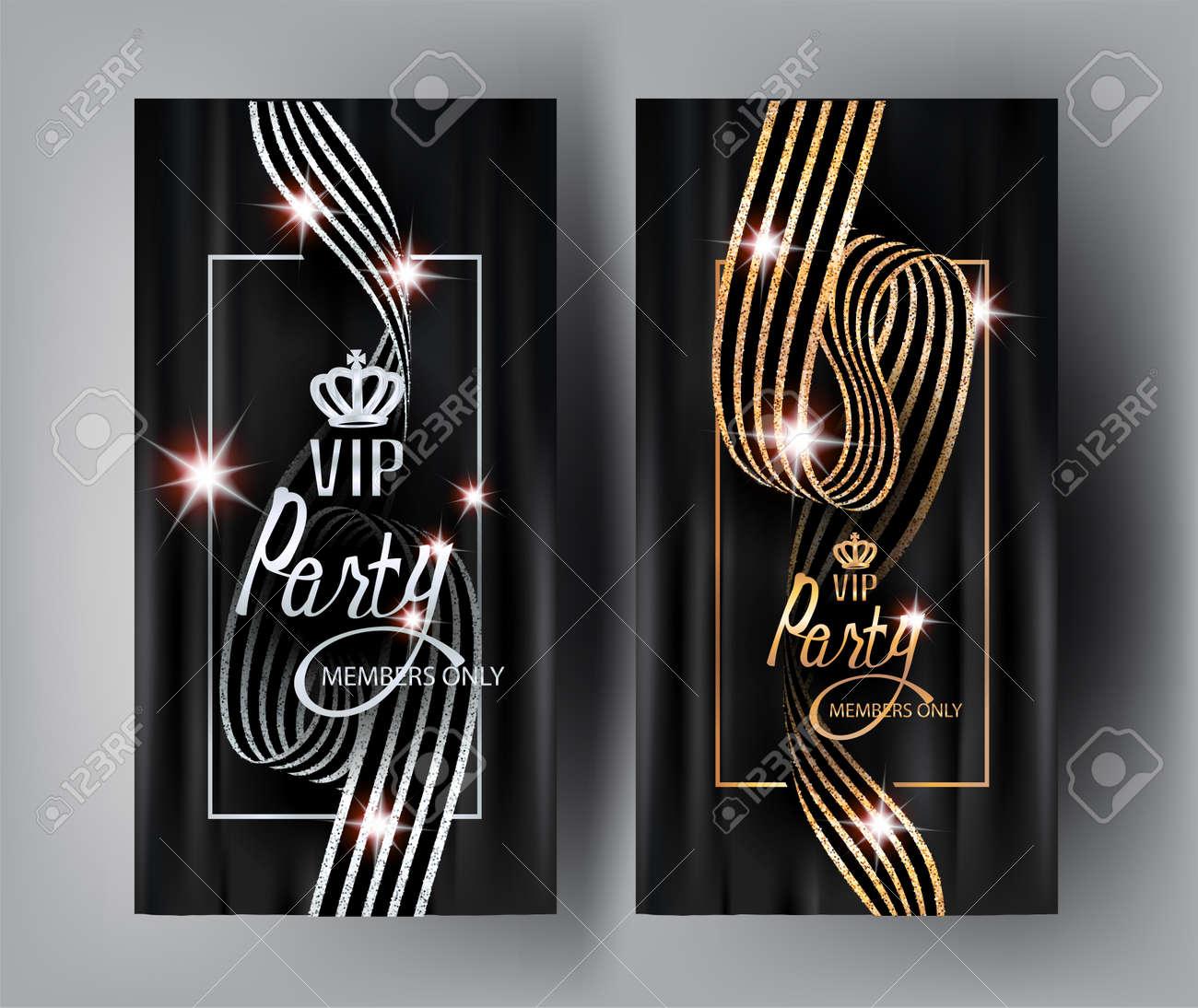 Vip elegant invitation cards with striped curly ribbons vector vector vip elegant invitation cards with striped curly ribbons vector illustration stopboris Choice Image
