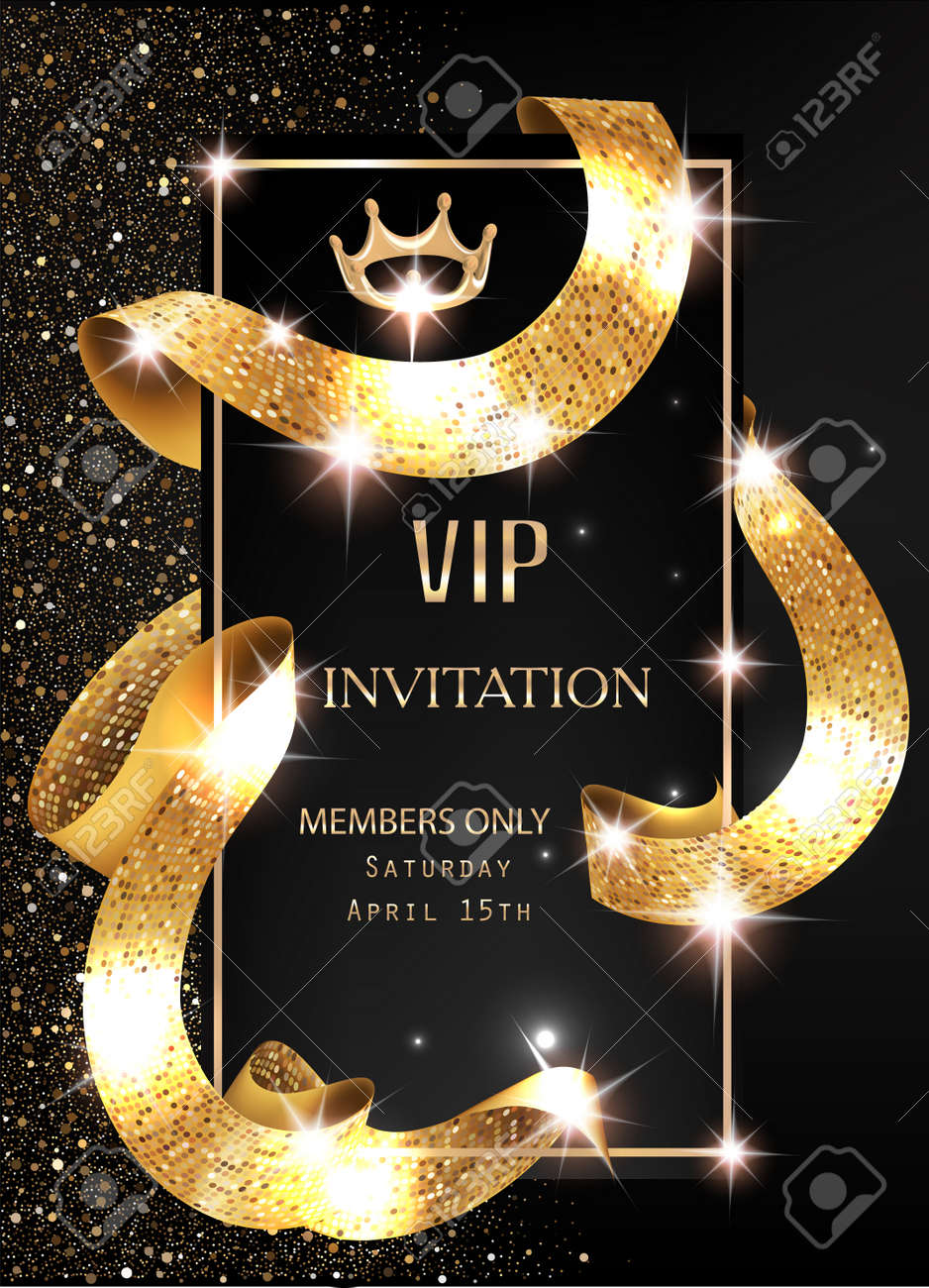 Vip invitation card with gold shiny sparkling curly ribbon vector vector vip invitation card with gold shiny sparkling curly ribbon vector illustration stopboris Image collections
