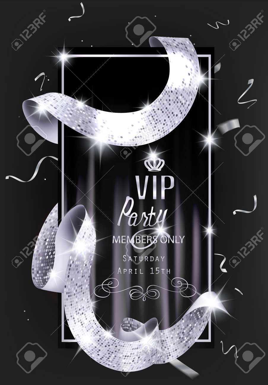 Vip invitation card with silver shiny sparkling curly ribbon vector vip invitation card with silver shiny sparkling curly ribbon vector illustration stopboris Image collections