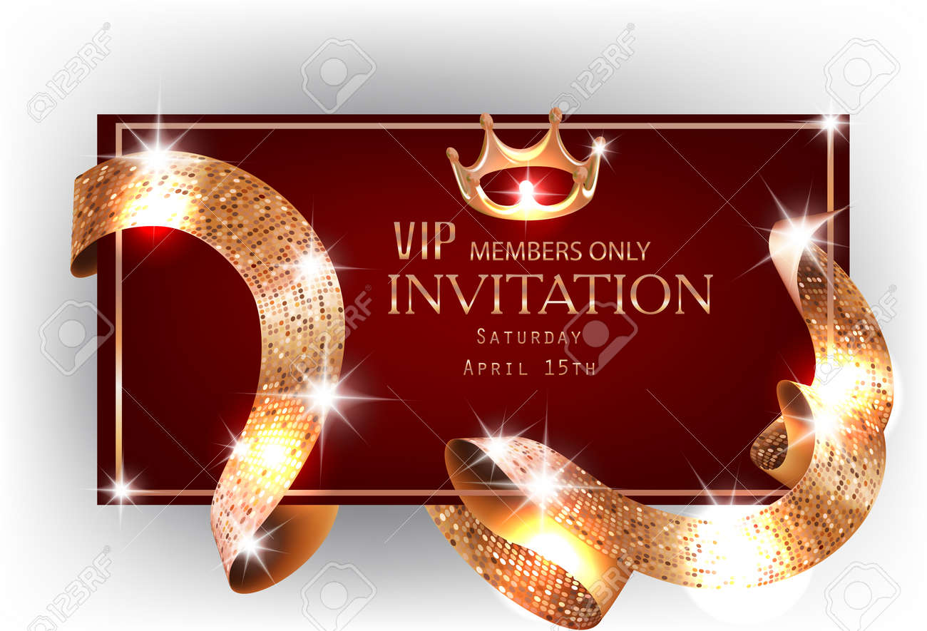 Vip red invitation card with gold shiny sparkling curly ribbon vector vip red invitation card with gold shiny sparkling curly ribbon vector illustration stopboris Image collections