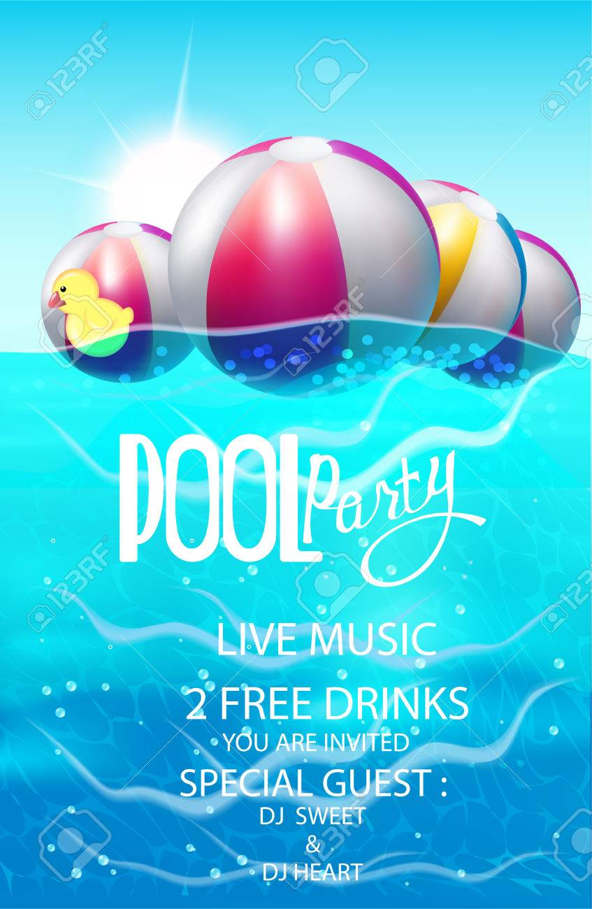 Pool Party Poster With Inflatable Balls Vector Illustration Royalty
