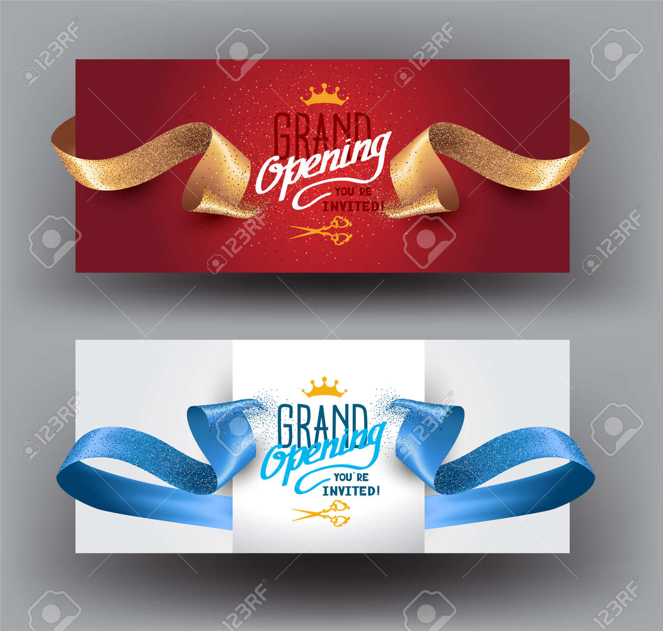 Grand opening background with curly cut ribbons. Vector illustration - 81650076