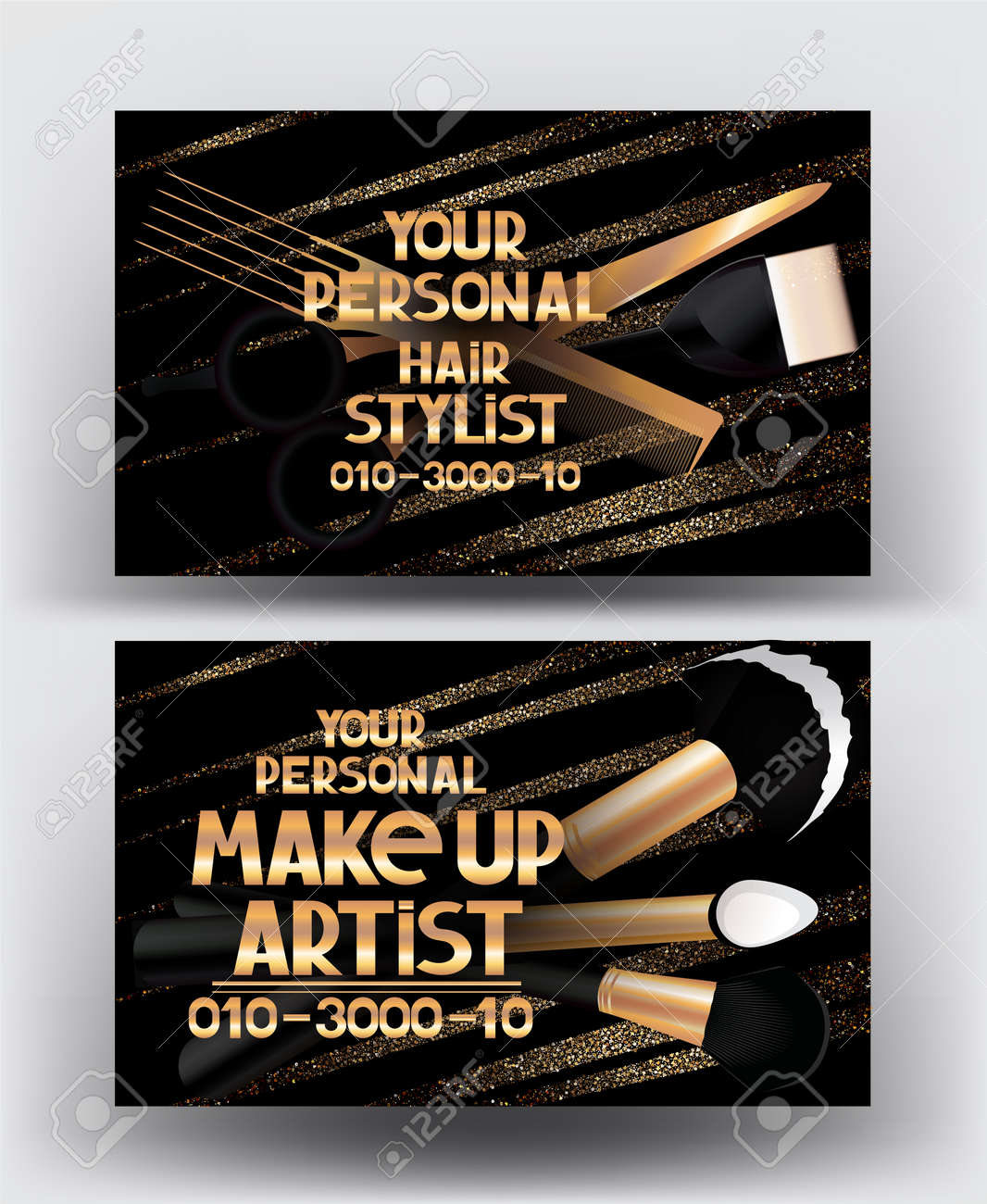 Nice business cards for hair stylist photos business card ideas hairstylist and makeup artist gold business cards with tools colourmoves Image collections