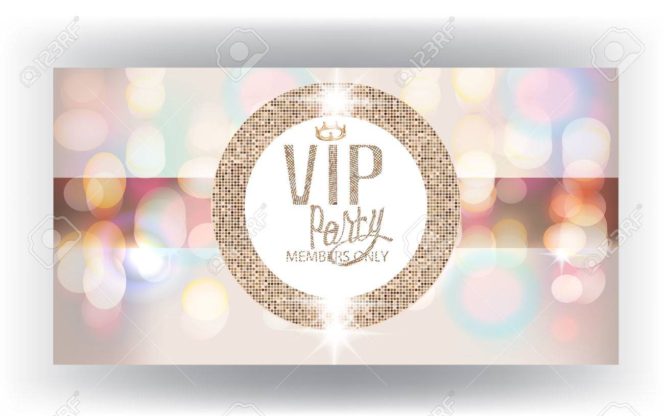 Vip invitation card with blurred background and sparkling gold round banco de imagens vip invitation card with blurred background and sparkling gold round frame vector illustration stopboris Gallery