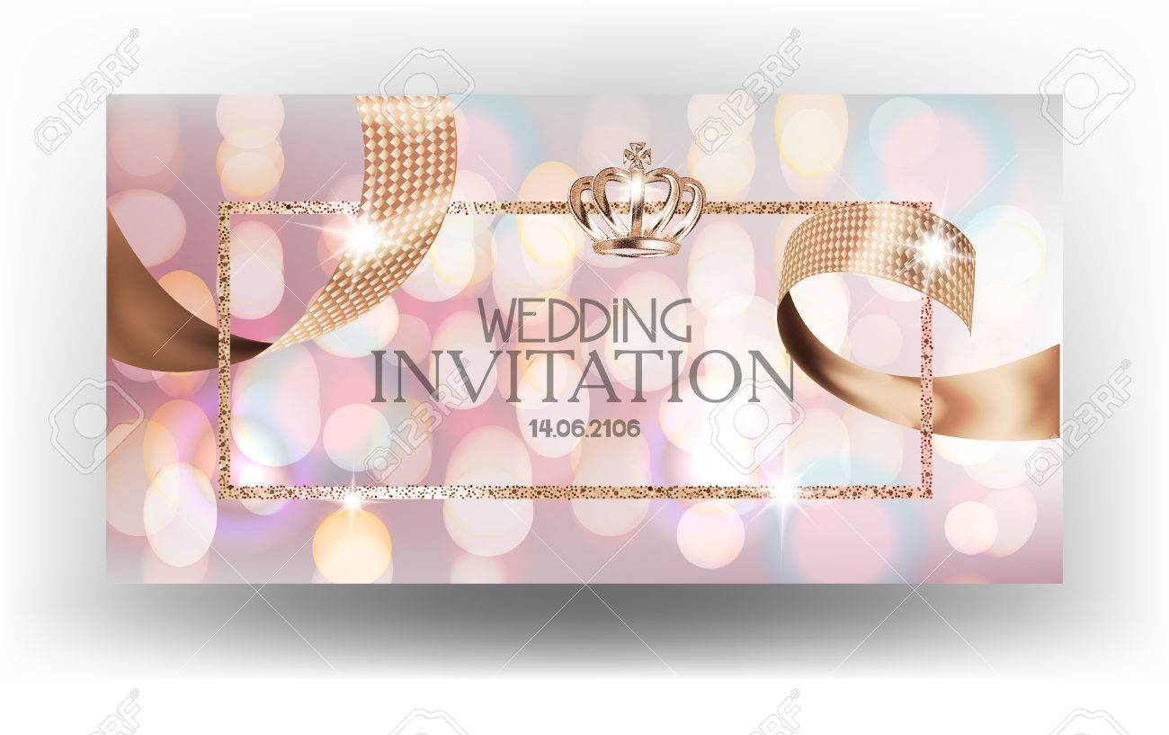 Wedding invitation card with blurred background and sparkling ribbon imagens wedding invitation card with blurred background and sparkling ribbon vector illustration stopboris Image collections
