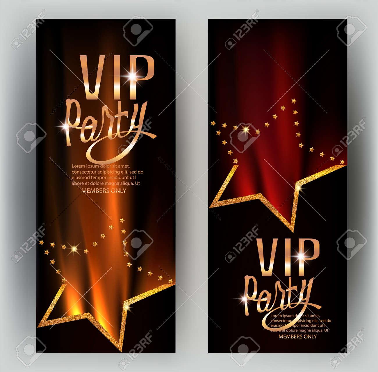 Tarjetas De Invitación De Invitación Vip Con Elementos De Diseño En Línea Estrellas