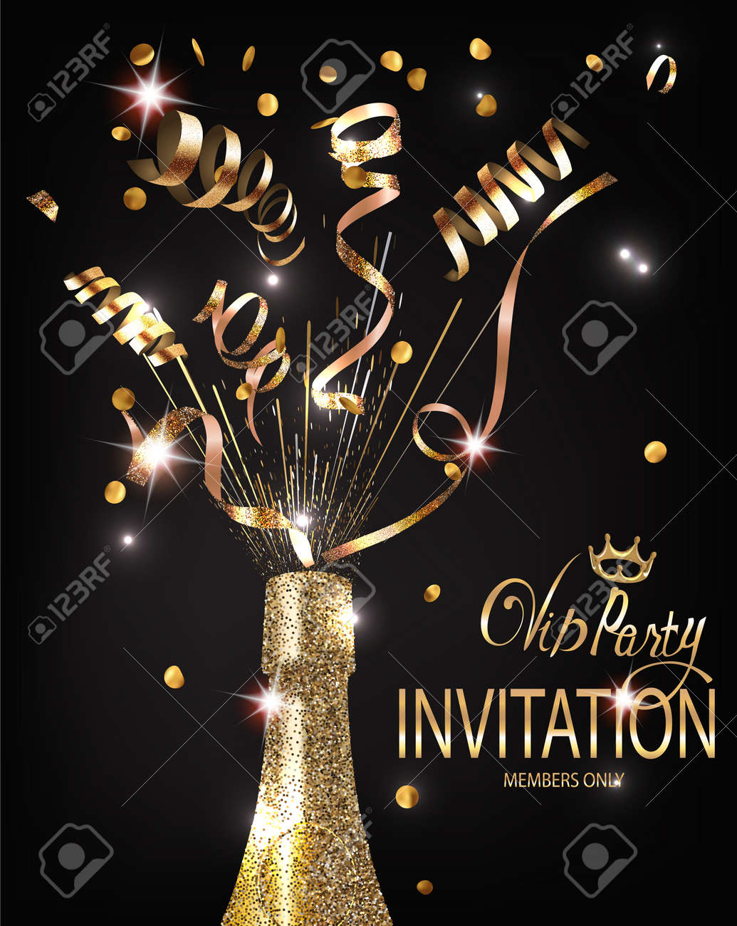 VIP Party Invitation Shiny Banner WITH GOLD TEXTURED SERPENTINE