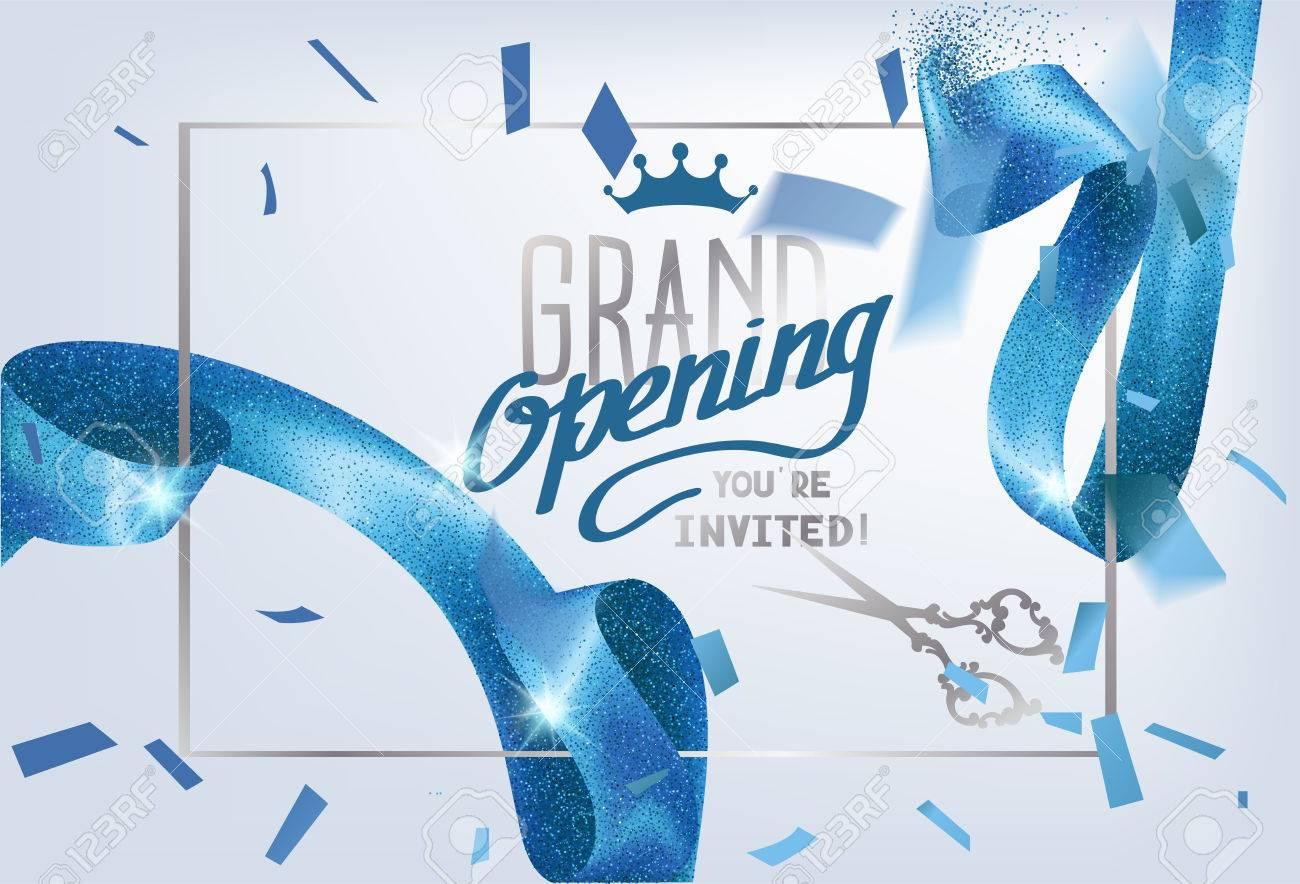 Tarjeta De Invitación De Gran Inauguración Con Fondo Brillante Y Rizado Ilustración Vectorial