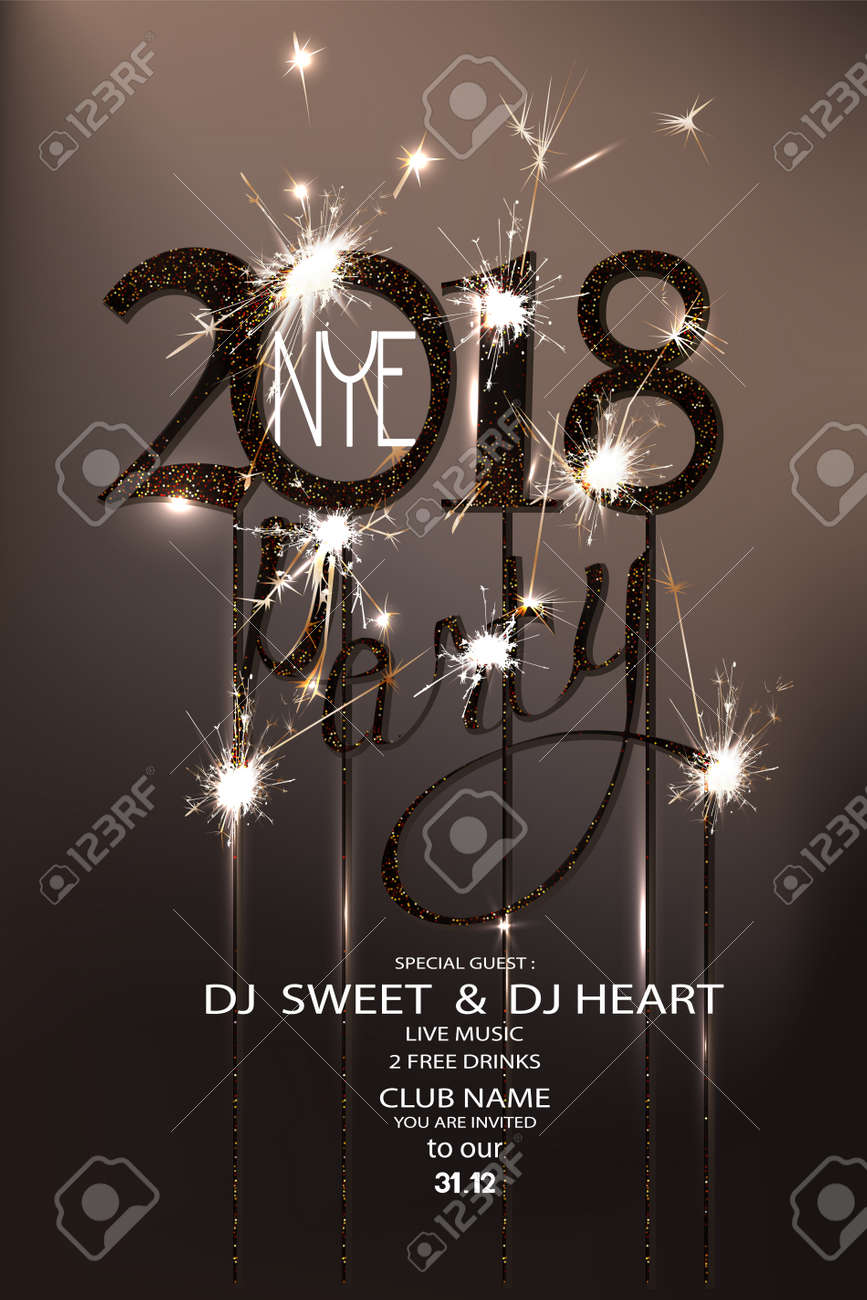 new year eve 2018 party invitation card with sparklers and serpentine vector illustration stock vector