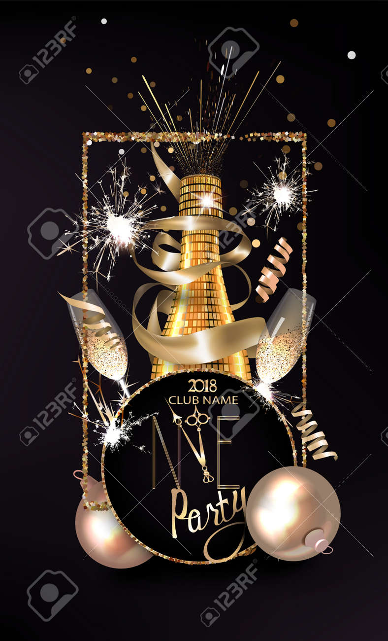 New Year Eve Invitation Card With Christmas Decorations Vector
