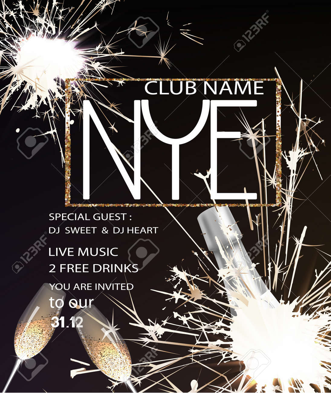 new years eve party invitation card with a bottle of champagne glasses and sparklers