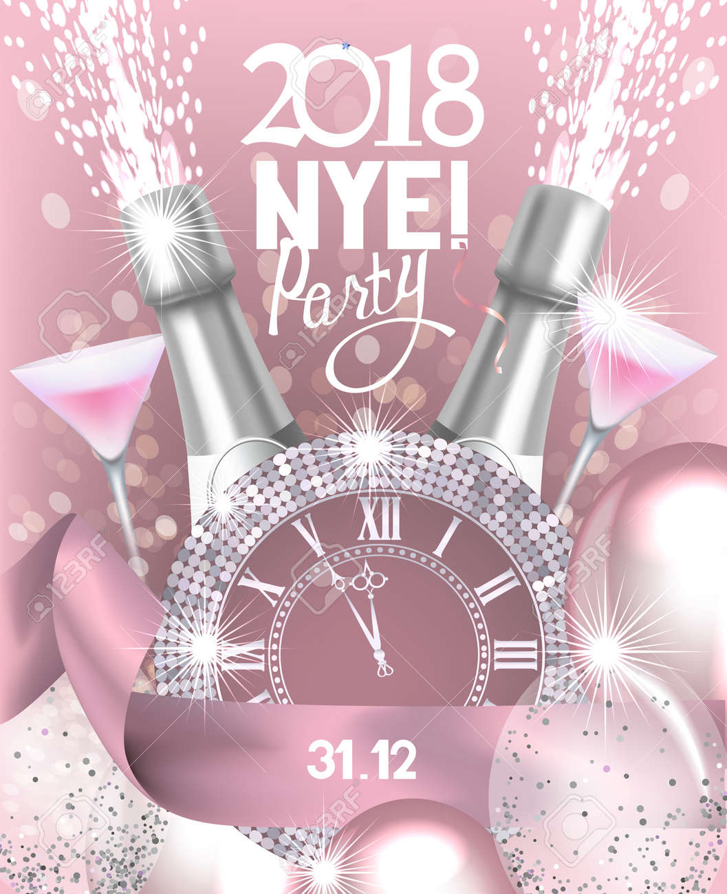 new year eve party invitation card with a bottle of champagne glasses watch and