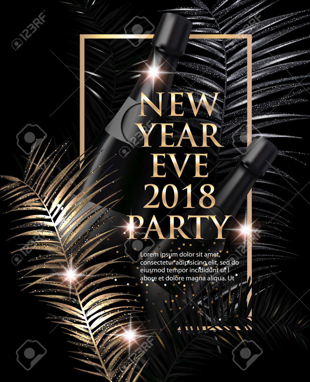 new year eve party invitation card with christmas tree branches gold and black vector
